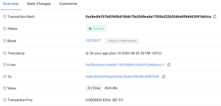 Etherscan Blockchain Transaction Example